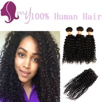 Wholesale Brazilian Deep Wave Curly Virgin Hair With Closure Cheap Human Hair Weave Bundles Brazilian Curly Virgin Hair With Closure