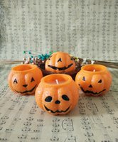 Wholesale DHL SF Halloween pumpkin Candle Halloween prank bougie cute pumpkin wax candle with different patterns Halloween necessity ornament gifts