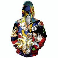 Wholesale Raisevern new anime design D zip up hoodie Goku cartoon zipper coat men women casual d hooded sweatshirts outerwear clothing