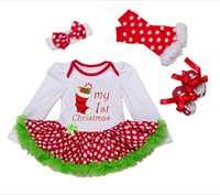 baby elements - Autumn Winter Baby Girl Clothes Long Sleeve Christmas Element Romper Dress Bow Headband Dot Socks Red Shoes Suit Seven Colors Four piece