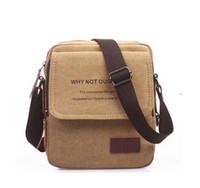 Compra Bolso marrón del mensajero de la lona-Los nuevos hombres bolsas de mensajero bolsa de lona de los hombres de la vendimia de Crossbody del hombro Bolsas para hombre Marrón Negro pequeño bolso bolsos del diseñador Bolso