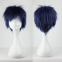 anime male figure - Hot Anime Kuroko no Basuke Figure Aomine Daiki Wig Cosplay Short Blue And Dark Mixed Male Wig