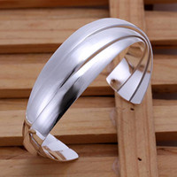 Wholesale Fashion jewelry Sterling Silver Three Circles Cuff Bangle Bracelet Brand New Good Quality for women s fashion