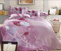 achat en gros de reine coverlet mettre rouge-pâle violette fleur rouge coton imprimé couette / lit courtepointe couvre pour les filles décor à la maison plein / queen king size Coverlet ensembles de literie