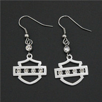 Wholesale Cool L stainless steel biker jewelry ladies biker earrings with clear crystal stones dangle