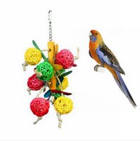 Wholesale Colorful Wood Parrot Hanging Chew Toy Bell Ball Cage Playing Pet Bird Parakeet Toy