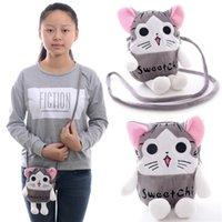 Girls animal crossing cards - Portable Layer Cartoon Chi s Cat Cellphone Key Coin purse Card Plush Cross Body Bags Kids girls HandBag New