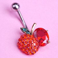 apple belly ring - Accessories For Body Jewelry Red Ruby Apple Cherry Piercing Navel Belly Button Rings Tragus Gold Navel Ombligo Sex Body Jewelry