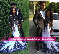 Wholesale Couples Same T Shirt - Couples Fashion Black and White Applique Lace Long Sleeve Prom Dresses 2016 Nigeria Black Girl Mermaid Arabic Occasion Evening Gowns Cheap