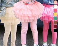 Wholesale Chiffon Ruffle Leggings - children spring autumn leggings trousers skirt girl pompin skirt baby cotton tights pantskirt kids safe under wear fake two piece D009