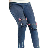 Wholesale 2016 Fashion Cute Cat Kids Jeans Winter Autumn Girls Long Denim Pants y Children Girl Skinny Trousers Top Quality Jeans