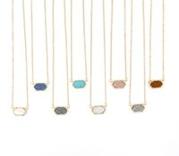 Wholesale Choker Chain Necklaces - Christmas Gift Kendra Style Copper Metal Faux Stone Oval Pendant Resin Druzy Necklace Pendant for Women