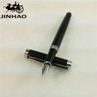 Wholesale JINHAO Fountain Pen Black Pens Silver Clip Caneta Tinteiro Jinhao Ink Pen Stationery School Supplies cm