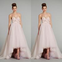 beach powder - Casual Beach High Low Wedding Dresses Spring Spaghetti A Line Asymmetrical Hemline Powder Pink Tulle Bridal Summer Dresses with Bow