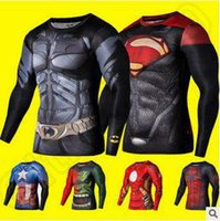 Wholesale New Fitness Compression Shirt Superhero Sport Wear Men Superman Captain America Batman Spiderman Iron Man Sport T shirt CCA4786