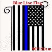 Wholesale 90 cm Thin Blue Line American Police Flag X5 With Embroidered Stars and Sewn Stripes Blue Line USA Flag CCA5180