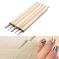5 PCS clavo de 2 maneras profesional de la extremidad del arte punteado de la pluma de madera Juego de herramientas de manicura kit de diseño de pintura Herramientas de bricolaje Nueva