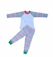 Wholesale Boutique kids christmas pajamas cotton reindeer printing raglan tshirts long pants outfits girl pajamas sets