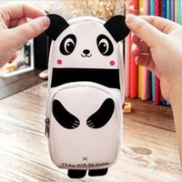 Cheap Wholesale-1Pcs Newest Fashion Design Cute panda pencil bags Students cortex large capacity pencil case papelaria Stationery bags 0074