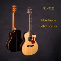 Wholesale Solid Spruce top acoustic electric guitar Pearl inlay Custom Handmade acoustic guitar in stock Chinese guitars