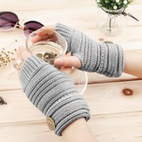 Wholesale 2016 Womens Winter Thick Fingerless Mittens Knitted Warm Wrist Long Gloves