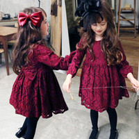 american red wine brands - 2016 Korean Spring Autumn Children Christmas Dresses Wine Red Lace Bownot Princess Party Dress Kids Long Sleeve Clothing