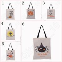Wholesale Halloween Hand Bag Canvas Bag with Black Handle X48cm cotton Drawstring Bags Pumpkin devil spider Hallowmas Gifts OOA242