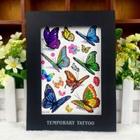 Nuevo Venta atractiva la transferencia del agua mezclada diseño de la mariposa encargo al por mayor de la piel personalizada extraíble mágica etiquetas engomadas del tatuaje barato