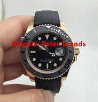 auto grade - Brand oysterflex rubber strap luxury watches rose gold ym mm black dial real photos high grade quality male wristwatch