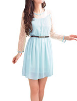 apparel belt - Women s Casual Dresses Chuvivi Unique Fashion Apparel Sheer Mesh Yoke Sleeve Dress with Belt Blue