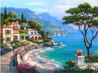 Wholesale Frameless Pictures Painting By Numbers Digital Oil Painting On Canvas Landscape Mediterranean Sea Pattern Home Decor x50cm