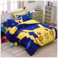 Wholesale 4pcs set Nursery Bed My neighbor totoro Doraemon Pikachu Cartoon doll Pure cotton Bedding Sets Queen Size Duvet Cover Bed Sheet