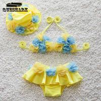Wholesale Hat Swimwear Children Stripe Bikini Girls D Flowers Close fitting Elastic Dtripe Swimsuit Split Two pieces Swimwear Swimsuit Split Two p