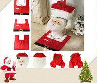 cover bidet - Bidet Seat Handicap Toilet Seat Christmas Decorations Happy Santa Toilet Seat Cover and Rug Bathroom Set New Christmas Decorations