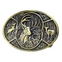 Wholesale Adult Men s Deer Hunting Woods Buck Southern Antler Head Belt Buckle