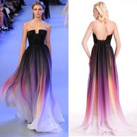 Cheap Cheap Elie Saab Ombre Backless Prom Dresses Long A-Line Strapless Neckline Sleeveless Pleated Evening Gowns Chiffon Formal Dress With Belt