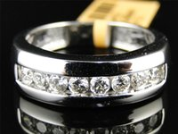 Wholesale Solid White Gold Mens Round Cut Diamond Channel Wedding band Ring Ct MM