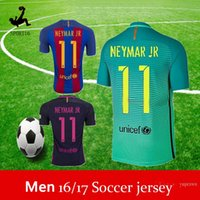 Wholesale messi Second away green adult jerseys set Soccer Jersey kits BArcelonaes Football Shirt Lionel Messi camisas La Liga Maillot Suarez