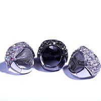 alloy adjustment - New fashion degsign women exaggerate diamond adjustment ring with three different colors and full rhinestone