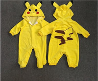 Wholesale Baby Cartoon Pikachu Rompers Cute Poke Animals One Piece Clothing Winter Santa Claus Clothes