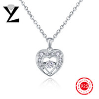 best bridesmaids gifts - Best Price Genuine Sterling Silver Heart Pendant with Dancing Diamond CZ White Gold Plated Locket Necklace for Bridesmaid Gift NP30820