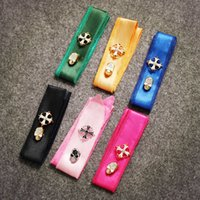 Wholesale bag scarf Double sided skulls tie Yellow gold plated copper buckle bag scarf ribbon print bags handle decoration bow HHA1009