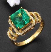 achat en gros de diamant vert bague en or jaune-Véritable diamant en émeraude vert naturel Diamonds Ring Solid 14K Yellow Gold