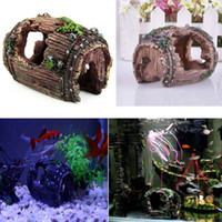 Wholesale Fish Tank Aquarium Barrel Resin Ornament Cave Furnishing Landscaping Decoration