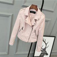 Wholesale 2016 Spring Autumn Pink Color PU Leather Female Locomotive Short Leather Jacket Outwear Coat
