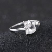 Wholesale high quality New lovely cat ring cute cat ring FGJL silver jewelry silver adjustable rings
