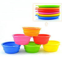 Wholesale Portable Mini Dog Silicon Foldable Bowls Feeder Pet Bowls Feeders CM Diameter Multiple Colors Portable Travel Outdoors