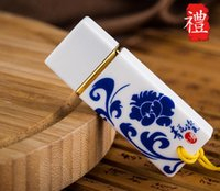 Wholesale High end business Chinese style blue and white porcelain U disk