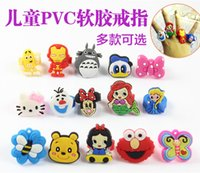 Wholesale Cartoon Girl Princess Gift Silicone Ring PVC Soft Cartoon Rings Ironman Duck Minions Butterfly DHL Free Kids Party Gifts