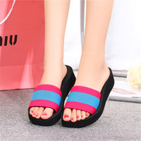 cheap slippers - 2016 summer cheap size platform heel mix colored slip on open toe ladies beach scuffs shoes women slippers F10